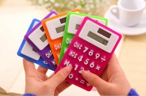 Mini Calculator Foldable Silicone Calculator Solar Energy Candycolor Creative Magnetic Student Card Calculadora School Office Use Tool