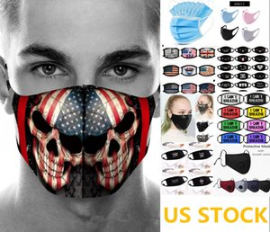 US STOCK, Designer Sponge Face Mask with Valve Disposable 3-Layers with Breath Wide Straps Washable Reusable Flag Cotton Cloth Masks