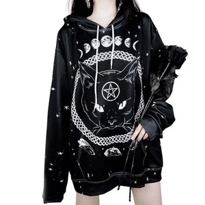 Designer Frauen Gothic Style Hoodies Langarm-Stoff mit mystischen Element und Cat Print Mode Donna Hooded Tops