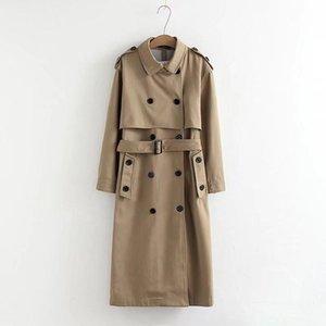 المرأة مزدوجة الصدر الزنانير أبلى سترة الأزياء VEE - أعلى OL معطف مكتب عارضة بلون خندق معطف طويل
