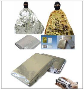 Manta de emergencia Manta Espacial acampa Rescate de primeros auxilios supervivencia de dormir caliente bolso al aire libre y el oro de emergencia a prueba de agua / Plata
