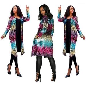 Colorido del otoño chaqueta de moda abrigos abierto puntada diseñador de las mujeres de largo con lentejuelas Cardigan Chaqueta primavera
