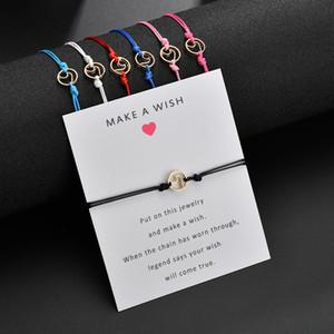 Faire une carte-cadeau Bracelet de vœux - Bracelet tressé Wish Bracelet doré en alliage en forme de vague Bracelet à breloques pour filles Enfants Enfants
