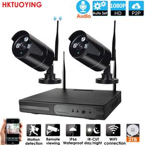 Система видеонаблюдения 4CH 1080P HD Aduio беспроводной NVR Kit P2P Крытый Открытый ИК ночного видения безопасности 2PCS1080P IP-камера WIFI