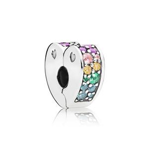Coração dobro alinharam Clipe pave charme para as mulheres Pandora 925 Sterling Silver CZ diamante pulseira Clipe caixa charme original