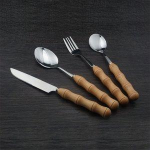 Slub Wood Dinner Service Гладкий Нож Ложки Вилка Посуда Из Нержавеющей Стали Бук Посуда Мода Новый Прибывает 2 35qx J1