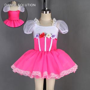 Costume Spandex Red Rose com curto Puff mangas Tutu Ballet para crianças menina Palco e Concorrência Danewear 19801