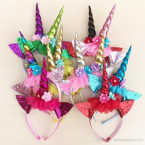 Детские Блестки Unicorn оголовье Диадема для партии Halloween Прекрасных Cat Ears девочек Цветок волос торчит волосы девочки Bow