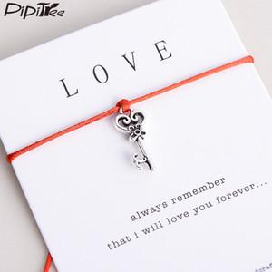 Pipitree Gemacht mit Liebe-Herz-Schlüssel-Charme-Armband Lucky Red String Wunsch-Armbänder für Geliebte Frauen Hochzeit Geburtstag Schmuck Geschenk