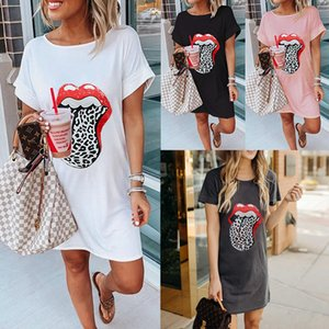 Womens vestido longo Camiseta Imprimir Teeshirt vestidos de verão vestido curto para as mulheres roupas casuais solta Camiseta