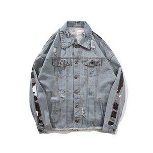 Mens moda giacche Casaul Hip Hop Camouflage Stitching sfilacciata foro Grey Denim Jacket Retro Streetwear M-XXL