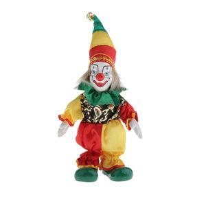 16cm Vintage El Renkli Giyim Seramik Palyaço Bebekler Dekorasyon Porselen Palyaço Doll Boyalı
