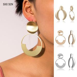 Shixin Punk Asymétrique Boucles d'oreilles 2019 Fashion Big Unique Boucles d'oreilles pour les femmes d'or / Déclaration Bijoux en argent Femme