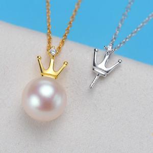 Nouvelle arrivée réel S925 Perle en argent sterling Réglages de montage multi bijoux style perle Mounts collier de diamants Bijou Accessoires