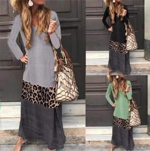 Contraste cor do vestido das senhoras do outono Painéis V Neck Vestidos Moda A linha média Clothes cintura das mulheres Leopard