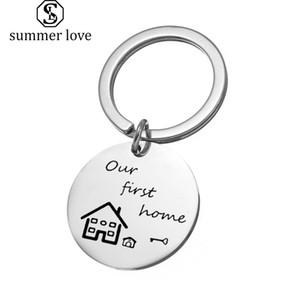 Nuevo hogar llavero joyas Los primeros Teclas principales del anillo de los amantes Llaveros Parejas presente regalo de bienvenida para él o ella