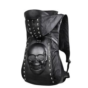 Nuovo 3D cranio rivetti in pelle zaino cranio zaino 2019 di personalità di modo con il sacchetto di vestiario tappo Hood borse trasversali hiphop uomo