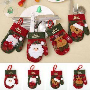 Guanti di Natale da tavola Holder Knife Fork Set di Natale di Santa Elk Cucina Pocket Bag posate pranzo regalo della decorazione Tabella Parte festa