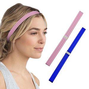 2PCS Yoga Headband Sweatband Sport Hair Band Anti-slip Silicone Strip Fitness Headwear Elastic Hair Band Reflective Strips