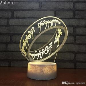 Remotas 16 Colores El señor de la noche de la forma de acrílico LED de la lámpara de tabla decorativa regalo de Navidad Luz del anillo de los anillos 3D