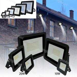 Holofotes 10W 20W 30W 50W 100W Ultra Fina Led Flood Luz Spotlight 110V / 220V IP68 Outdoor Lâmpada de parede Luz de inundação DHL