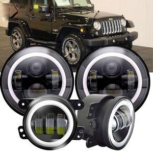 "45W 7"" round LED projector headlights +4.0 inch 30w fog light For-Jeep Wrangler JK LJ TJ"