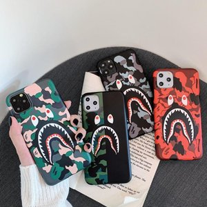Hot Luxury Designer phone case for iphone X XR XS 11 Pro Max 7 8 plus Soft Silicon Fashion Camouflage Shark Mouth Phone Back cover