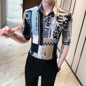Мужские повседневные рубашки Высокое Качество Корейский лето для мужчин Мода 2021 Половина рукава Печать рубашки Slim Fit Streetwear Chemise Homme 3XL