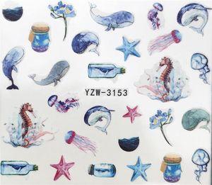 YZWLE 2019 Новый Arrivial ногтей наклейки Желая бутылка / дельфин / морская звезда завод Pattern 3D Маникюр наклейки для ногтей воды наклейки