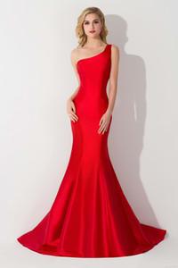 In Borgogna della Prom Dresses una spalla Mermaid abito da damigella Elegante sweep treno sera convenzionale degli abiti di CPS077