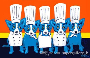 "George Rodrigue Blue Dog ""Heat in the Kitchen"" Pintado a mano de alta calidad HD Print pintura al óleo Decoración del hogar Arte de la pared en lienzo Tamaños múltiples"