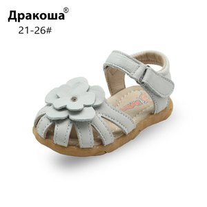 Apakowa Summer Real Leather Girls Sandals Kids Classic Close-toe Orthopedic Shoes with Beautiful Flower for Toddler Beach School T200703
