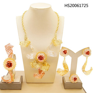 Yulaili Dubai Gold Jewelry Sets for Women Fashion Necklace Earrings Bracelet Ring Fine Jewellery 24k Tricolor New Design