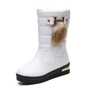 Women Winter Shoes Women High Boots Rhinestone Decoration 2018 New Warm Fur leather Mid Calf Boots Women Platform Boots