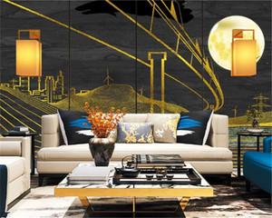 Photo faite sur commande 3d Fond d'écran Simple Ville Moon Light Living fond Salle TV Chambre Mur Fond d'écran
