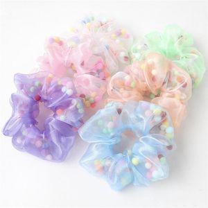 6 цвет эластичный Каваи цветной шерстяной шар волос группа галстук ванна цветок мяч оголовье резинка для волос конский хвост аксессуары для волос оптом