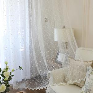 الأبيض التطريز الزهور الرباط ستائر غرفة المعيشة مطبخ ستارة النافذة الفوال ستائر شير لالستار باب غرفة النوم