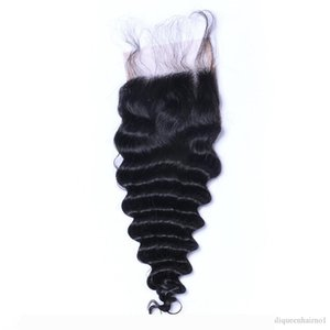 Brazilian Virgin Hair Deep Wave 4*4 Lace Top Closure Middle part Natural Color Can be Dyed Lace closure