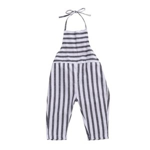 1-5Y Summer Infant Baby Girls Overalls Pants Blue Striped Print Sleeveless Belt Jumpsuits Outfits