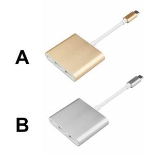 3 en 1 tipo C Para 4K HDMI USB 3.1 Tipo-C al adaptador de carga del adaptador multi-puerto para el MacBook Pro de píxeles de Samsung Huawei Xiaomi mp3
