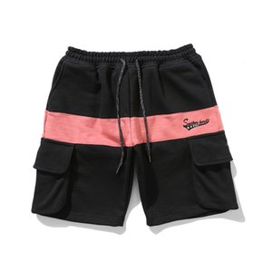 2020 black mens shorts purchasing foreign trade explosion models hit the color stitching cotton shorts men's casual pants handsome tooling
