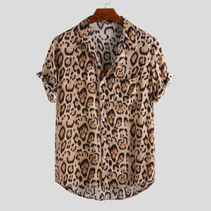 Adults Men's Leopard T-shirt Gym Tops Casual Crew Neck Shirt Short Sleeves Shirt