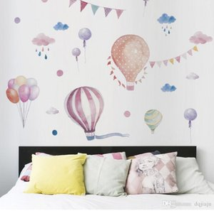 New color hot air balloon wall stickers girl style decorative stickers children's room TV wall decoration stickers