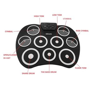 Portable Silicone Electronic 9 Pads Roll Up Drum with Drumsticks and Sustain Pedal Students Children Practice Drum