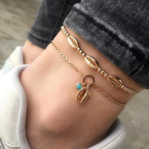 Hot Bohemian Fashion Jewelry Shell Beaded Anklet Chain Metal Gold Shell Charms Ankle Bracelet Double Layer Beach Anklets
