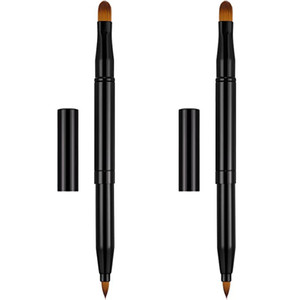Vôsaidi Double-Sided Retractable Lip Brush Travel Lipstick Makeup Brush Eyeshadow and Concealer Brush for Female,Woman