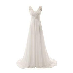 2020 화이트 또는 아이보리 비치 웨딩 드레스 캐주얼 V 넥 A 라인 시폰 웨딩 드레스 레이스 아플리케 Vestido de Noiva Sereia