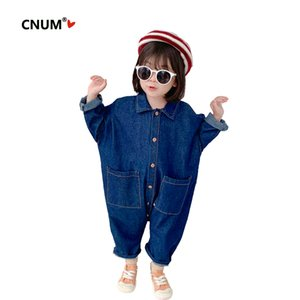 CNUM Trendy Brand Toddler Kids Baby Girl Denim Overall Kid Clothing Outfits Children's Costume One Pieces Clothes Dropshipping Y200704