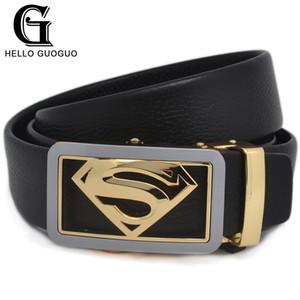 Merhaba guo Bel kemeri Erkek Superman sembol Elmas şekli Otomatik Gizle toka Cowskin deri Gücü erkek kemerleri Sevgililer günü