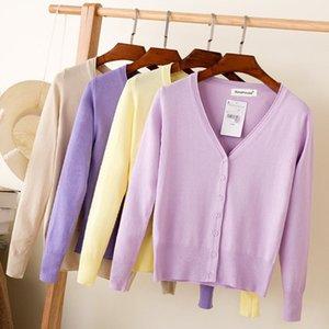 manga longa Queechalle 28 cores cardigans de malha primavera outono cardigan mulheres casual tops casaco V pescoço mulheres sólidos camisola